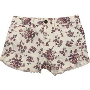 Tinseltown white pink floral frayed shorts